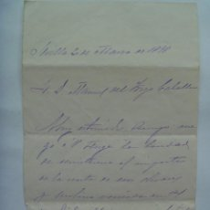 Manuscritos antiguos: CARTA MANUSCRITA . SEVILLA 1898 . SIGLO XIX. Lote 157740374