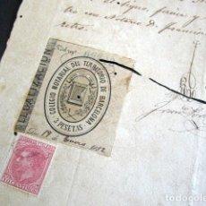 Manuscritos antiguos: COLEGIO NOTARIAL DEL TERRITORIO DE BARCELONA. REINTEGRADO SELLO DE CORREOS DE LA EMISIÓN 1879. Lote 157801826