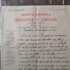 Manuscritos antiguos: CARTA MANUSCRITA DE 1925 PUBLICADA EN LA REVISTA ESPAÑOLA DE MEDICINA Y CIRUGIA.. Lote 157923628