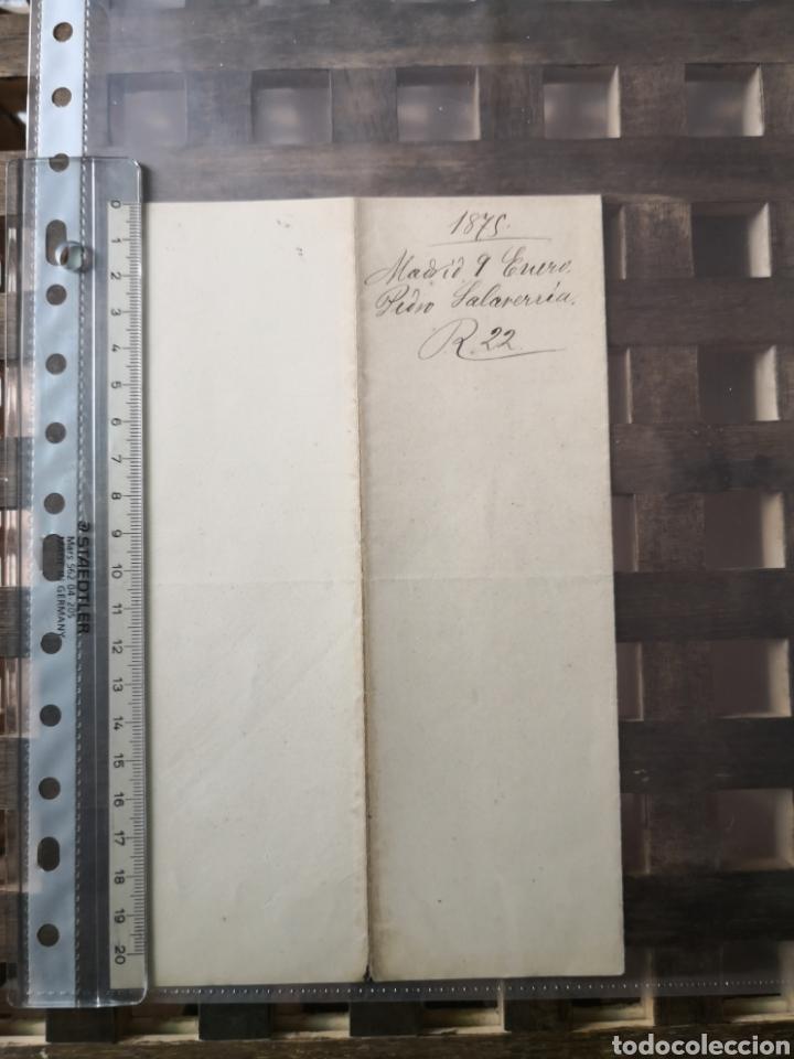 CARTA MANUSCRITA Y FIRMADA EN 1875 POR EL MINISTRO DE HACIENDA PEDRO SALAVERRÍA. (Coleccionismo - Documentos - Manuscritos)