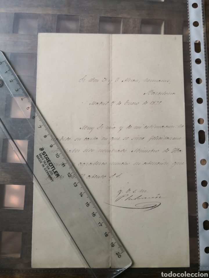 Manuscritos antiguos: Carta Manuscrita y firmada en 1875 por el Ministro de Hacienda Pedro Salaverría. - Foto 2 - 157927234
