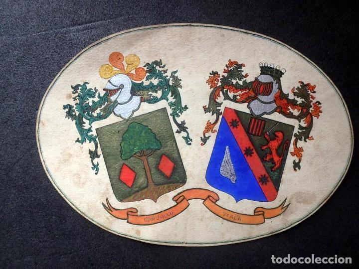 (JX-190415)ESCUDOS HERÁLDICOS PINTADOS DE LAS FAMILIAS GARGALLO Y VIALA,NOBLEZA CATALAN,SIGLO XIX. (Coleccionismo - Documentos - Manuscritos)