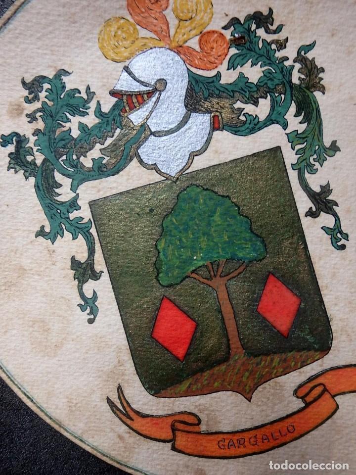 Manuscritos antiguos: (JX-190415)Escudos Heráldicos pintados de las Familias Gargallo y Viala,Nobleza Catalan,Siglo XIX. - Foto 2 - 158492082