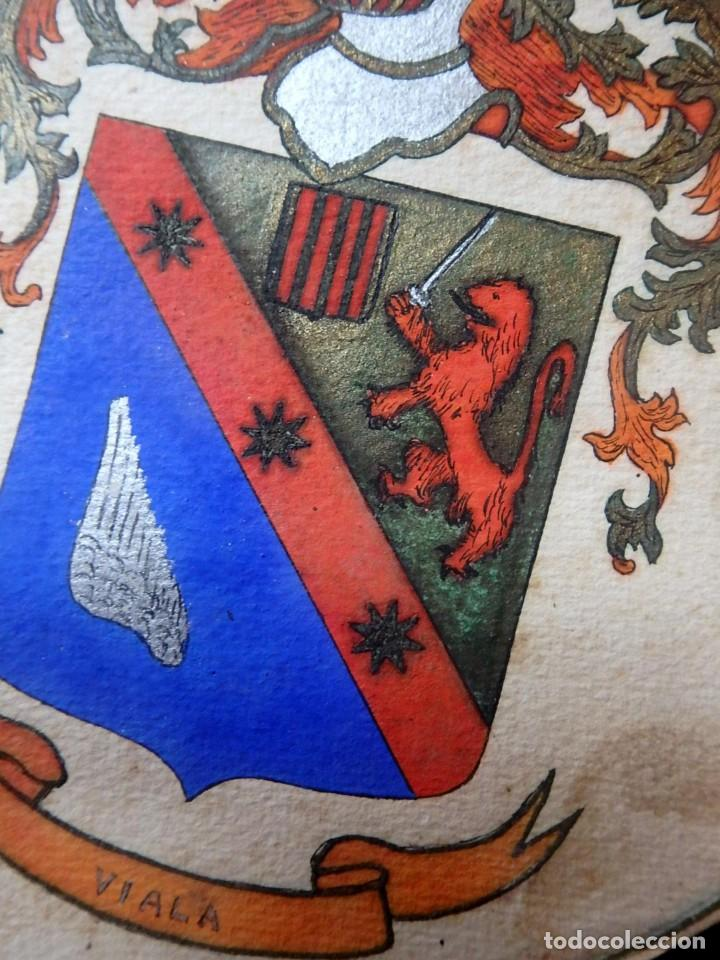 Manuscritos antiguos: (JX-190415)Escudos Heráldicos pintados de las Familias Gargallo y Viala,Nobleza Catalan,Siglo XIX. - Foto 6 - 158492082