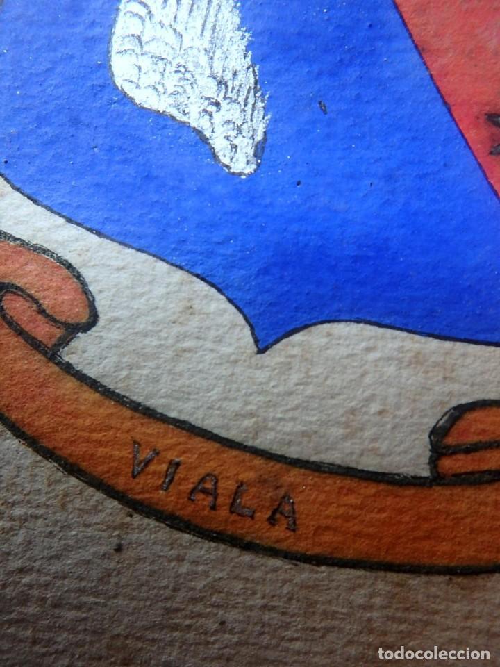 Manuscritos antiguos: (JX-190415)Escudos Heráldicos pintados de las Familias Gargallo y Viala,Nobleza Catalan,Siglo XIX. - Foto 7 - 158492082