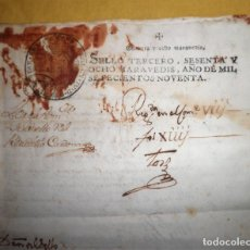 Manuscritos antiguos - CARTA DE GRACIA DEL REY CARLOS IV AL CONDE DE LACY - AÑO 1790. - EXCEPCIONAL. - 158577362