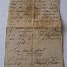Manuscritos antiguos: VILLAFRANCA DEL CID. CASTELLON. CARTA DE PAGO DE COMPRAVENTA. SEPTIEMBRE 1937.. Lote 158966614
