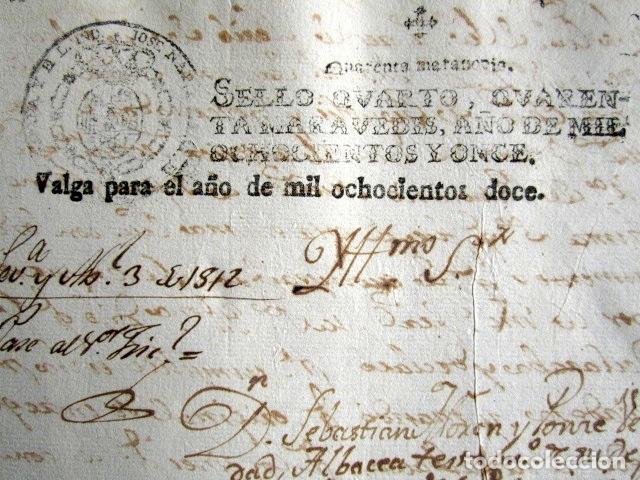 AÑO 1811. JOSE NAPOLEÓN. SELLO 4º. HABILITADO 1812.MUY RARO. INQUISICIÓN. CARCELES SECRETAS SEVILLA (Coleccionismo - Documentos - Manuscritos)