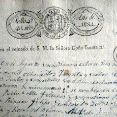 Manuscritos antiguos: AÑO 1834. SELLO 4º. VOZMEDIANO. ISABEL II. MANCOMUNIDAD. DIPUTADOS. VALIDACIÓN DEL SELLO. RARO. . Lote 159262662