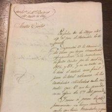 Manuscritos antiguos: CONTADURIA RENTAS PARTIDO DE TUY, ANTIGUO MANUSCRITO, ORDEN COBRO FRUTOS CIVILES1827 GALICIA. Lote 159438298