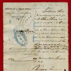 Manuscritos antiguos: DOCUMENTO MILITAR EN MATANZAS , CUBA 1893 , ORIGINAL , B10 -13. Lote 159521662