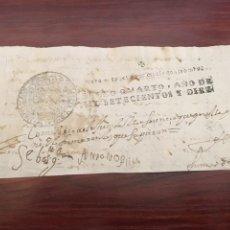 Manuscritos antiguos: FELIPE V 1710. CABECERA DEL PAPEL SELLADO O TIMBRADO, SELLO DESPACHOS DE OFICIO CUATRO MARAVEDIS. Lote 160161904