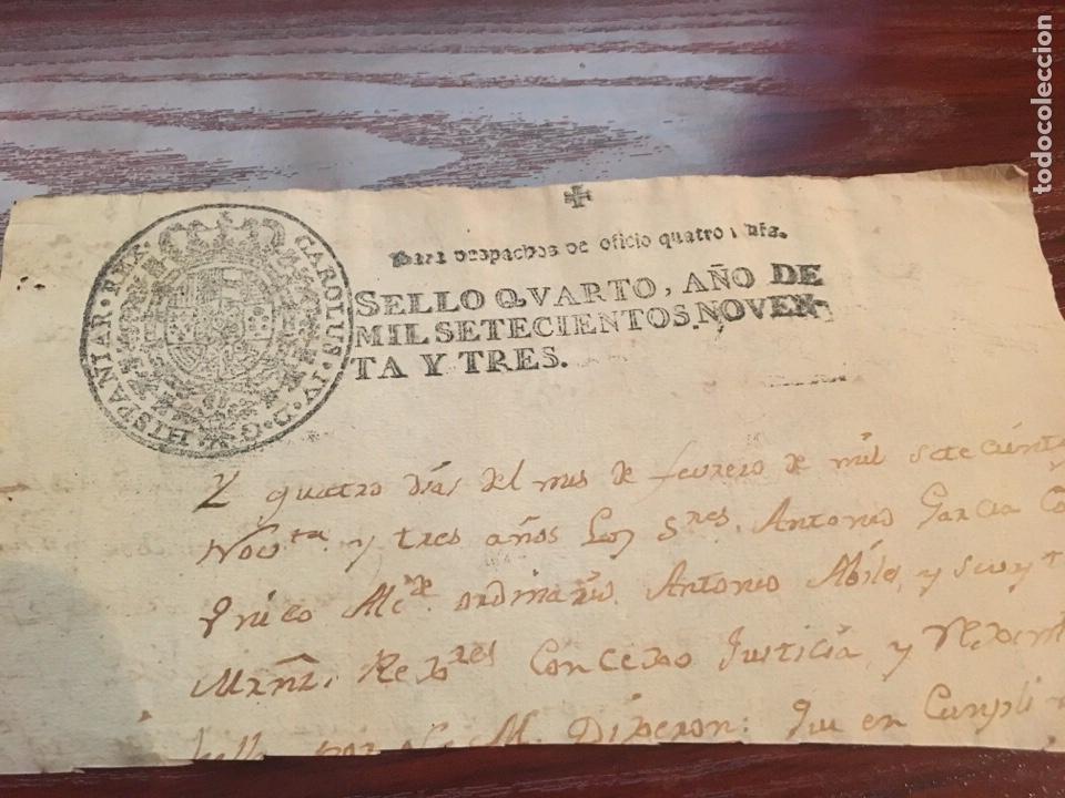 CARLOS IV 1793. CABECERA PAPEL SELLADO O TIMBRADO, SELLO DESPACHOS DE OFICIO (Coleccionismo - Documentos - Manuscritos)