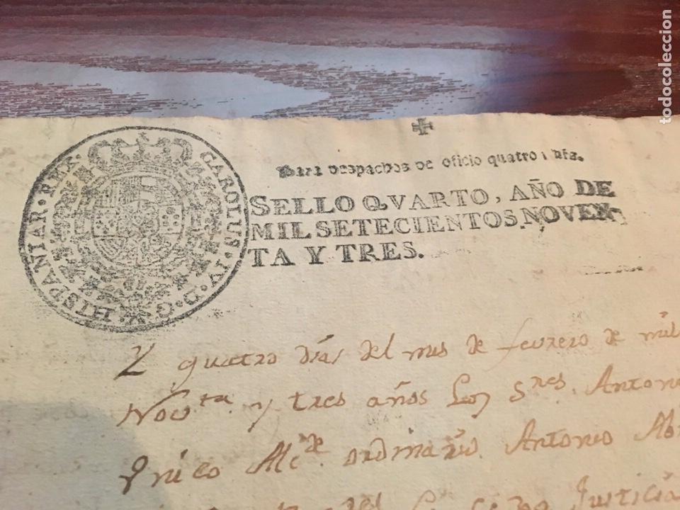 Manuscritos antiguos: CARLOS IV 1793. Cabecera papel sellado o timbrado, sello despachos de oficio - Foto 2 - 160178993