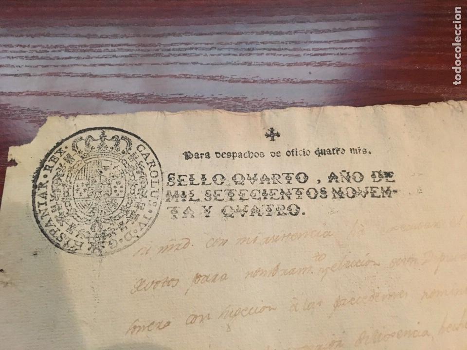 Manuscritos antiguos: CARLOS IV 1794. Cabecera papel sellado o timbrado, sello despachos de oficio. - Foto 2 - 160179248
