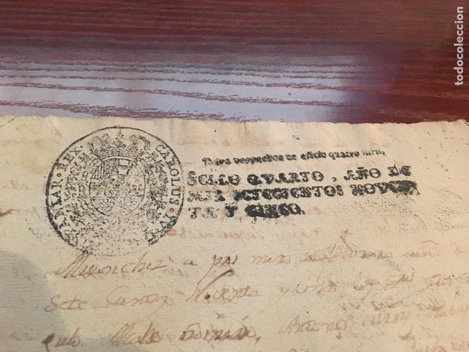 Manuscritos antiguos: CARLOS IV 1795. Cabecera papel sellado o timbrado, sello despachos de oficio. - Foto 2 - 160179881