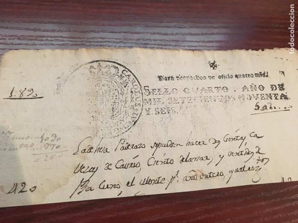CARLOS IV 1796. CABECERA PAPEL SELLADO O TIMBRADO, SELLO DESPACHOS DE OFICIO (Coleccionismo - Documentos - Manuscritos)