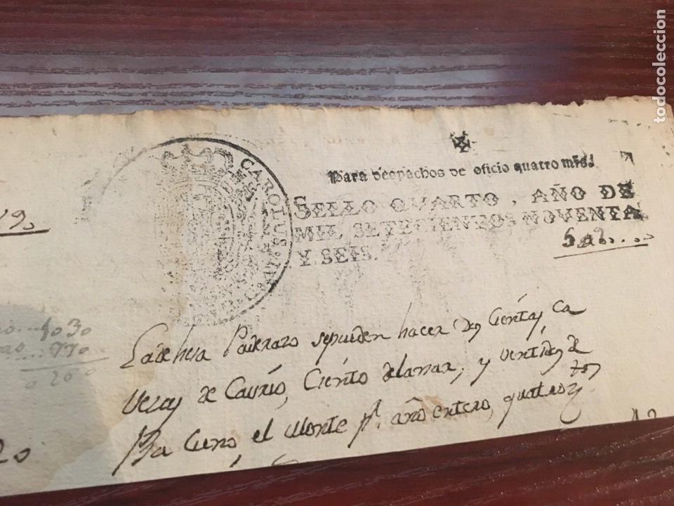 Manuscritos antiguos: CARLOS IV 1796. Cabecera papel sellado o timbrado, sello despachos de oficio - Foto 2 - 160180184