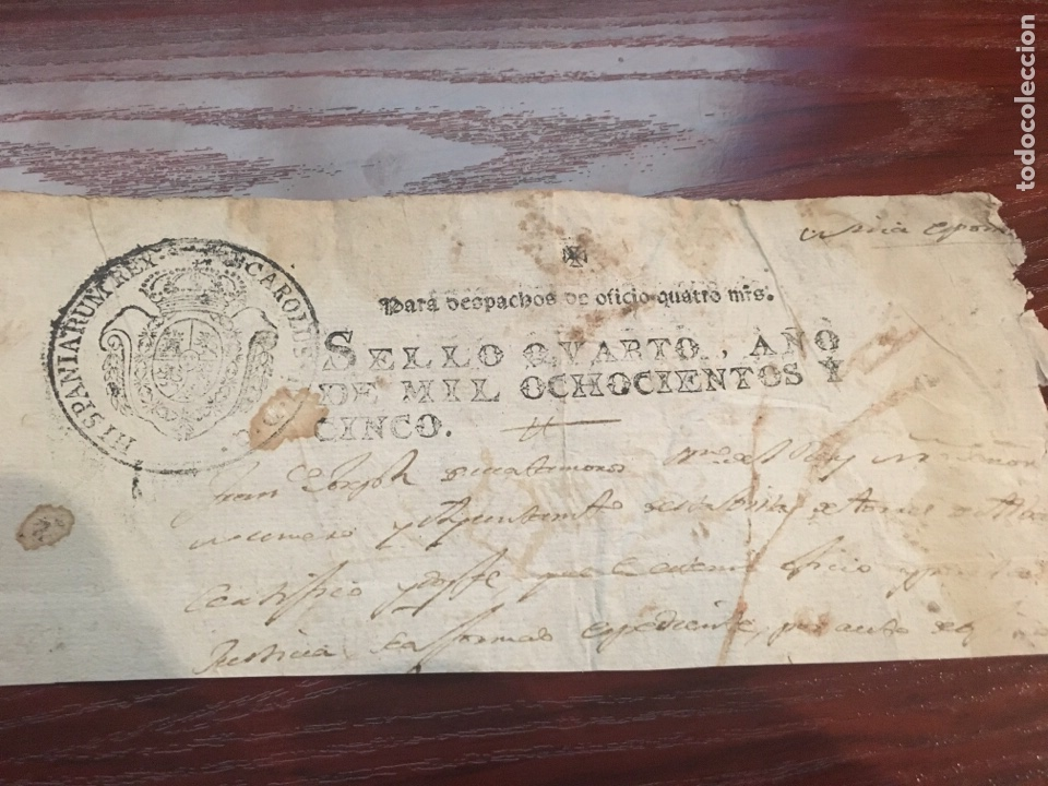 CARLOS IV 1805. CABECERA PAPEL SELLADO O TIMBRADO, SELLO DESPACHOS DE OFICIO (Coleccionismo - Documentos - Manuscritos)