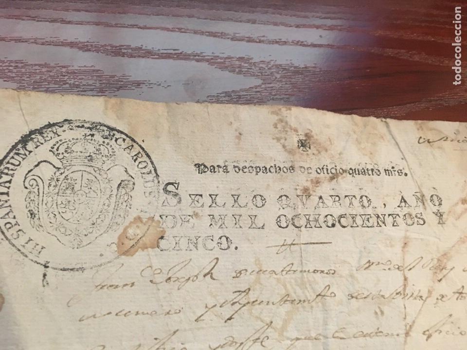 Manuscritos antiguos: CARLOS IV 1805. Cabecera papel sellado o timbrado, sello despachos de oficio - Foto 2 - 160180674