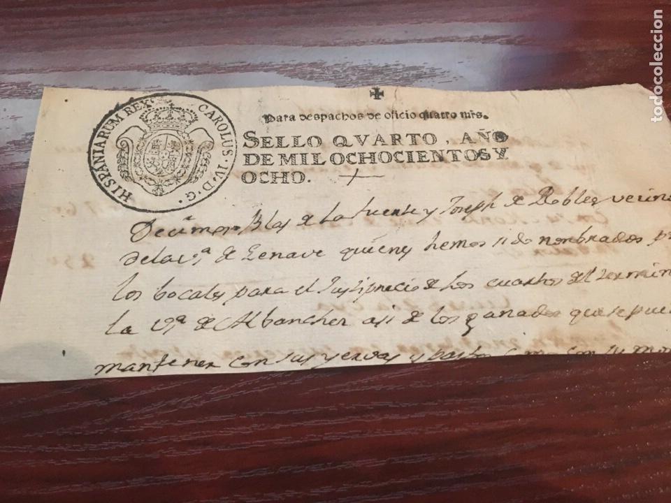 CARLOS IV 1808. CABECERA PAPEL SELLADO O TIMBRADO, SELLO DESPACHOS DE OFICIO (Coleccionismo - Documentos - Manuscritos)