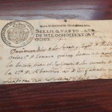 Manuscritos antiguos: CARLOS IV 1808. CABECERA PAPEL SELLADO O TIMBRADO, SELLO DESPACHOS DE OFICIO. Lote 160180853