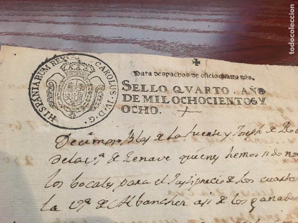 Manuscritos antiguos: CARLOS IV 1808. Cabecera papel sellado o timbrado, sello despachos de oficio - Foto 2 - 160180853