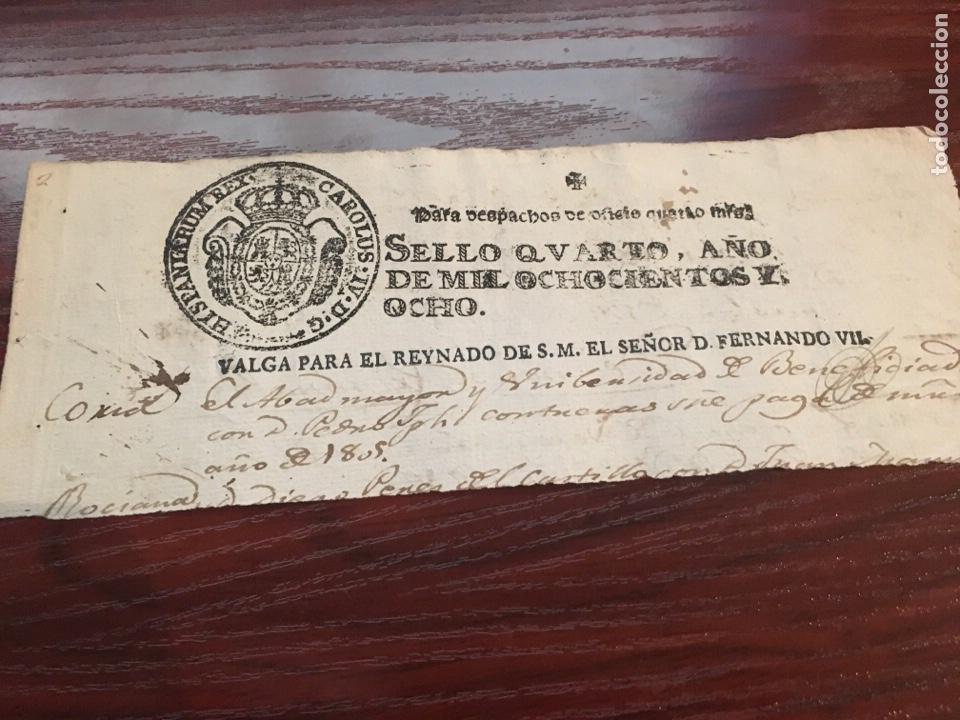 FERNANDO VII 1808. CABECERA PAPEL SELLADO O TIMBRADO, SELLO DESPACHOS DE OFICIO (Coleccionismo - Documentos - Manuscritos)