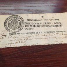 Manuscritos antiguos: FERNANDO VII 1808. CABECERA PAPEL SELLADO O TIMBRADO, SELLO DESPACHOS DE OFICIO. Lote 160181081