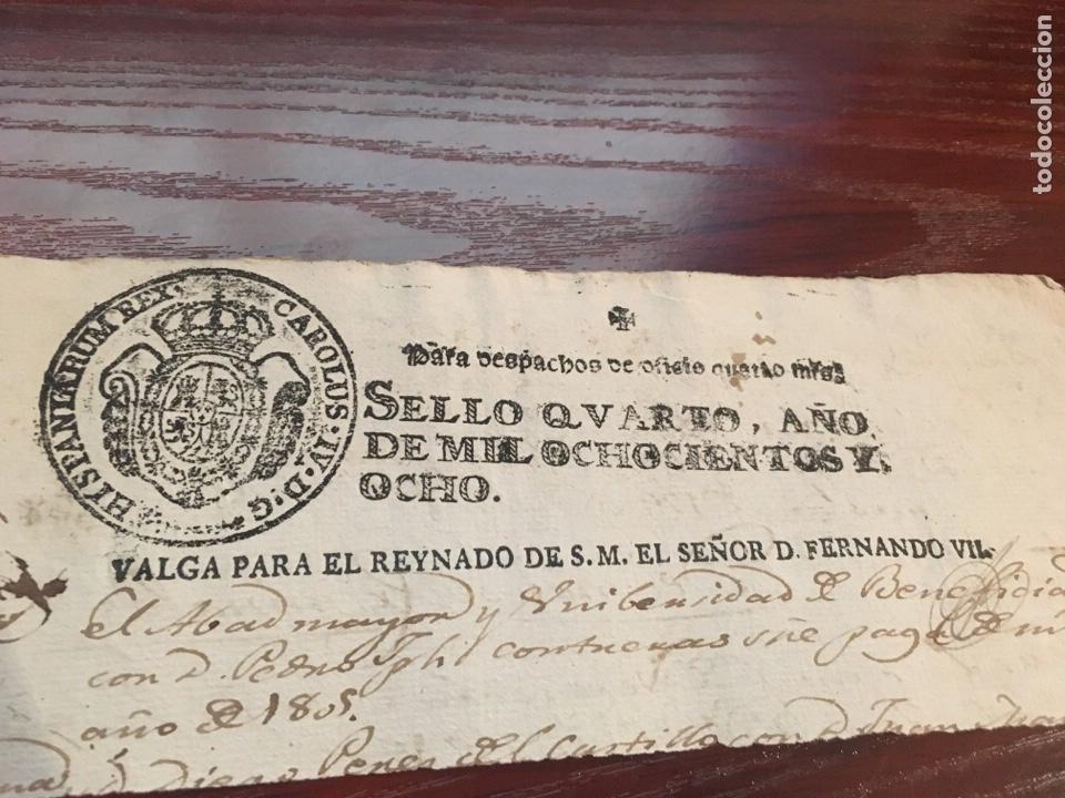 Manuscritos antiguos: FERNANDO VII 1808. Cabecera papel sellado o timbrado, sello despachos de oficio - Foto 2 - 160181081