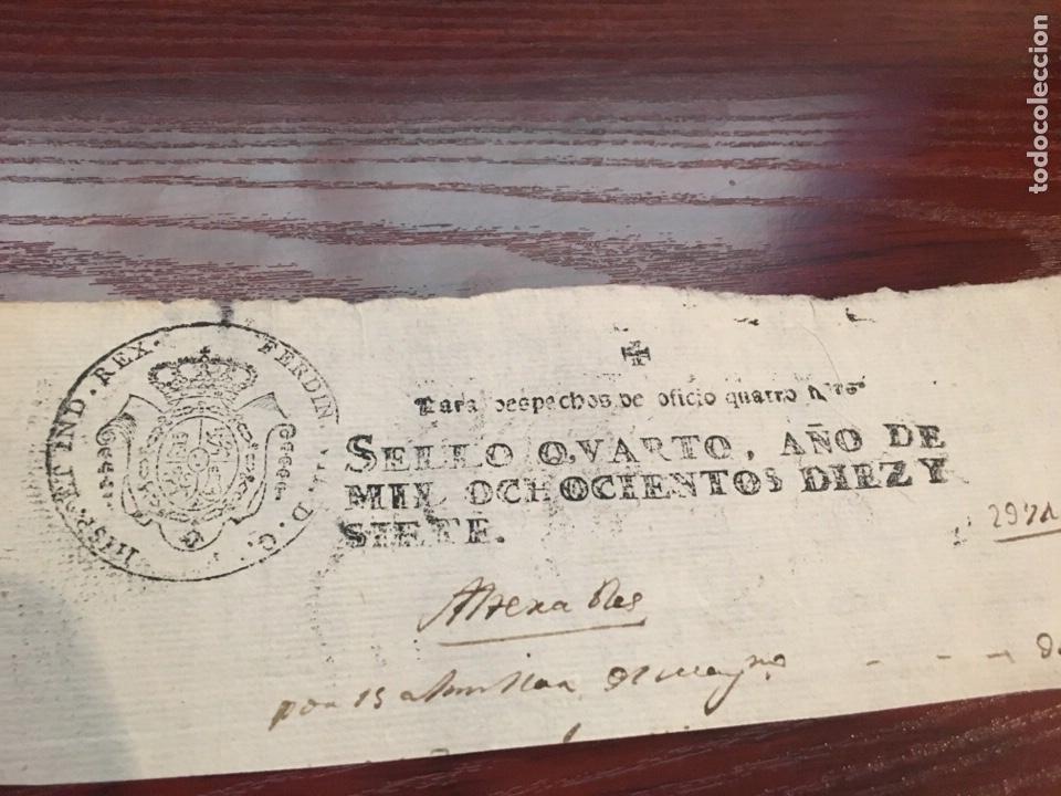 Manuscritos antiguos: FERNANDO VII 1817. Cabecera papel sellado o timbrado, sello despachos de oficio - Foto 2 - 160181572