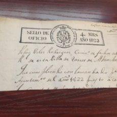 Manuscritos antiguos: FERNANDO VII 1823. CABECERA PAPEL SELLADO O TIMBRADO, SELLO DESPACHOS DE OFICIO. Lote 160182182
