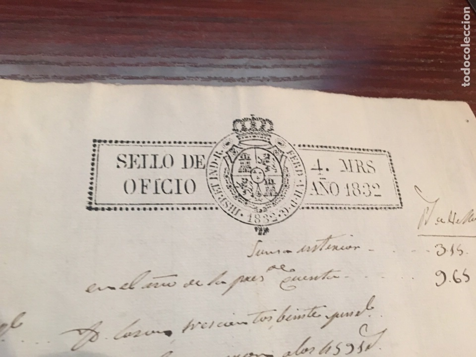 Manuscritos antiguos: FERNANDO VII 1832. Cabecera papel sellado o timbrado, sello despachos de oficio - Foto 2 - 160182642