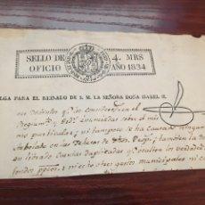 Manuscritos antiguos: ISABEL II 1834. CABECERA PAPEL SELLADO O TIMBRADO, SELLO DESPACHOS DE OFICIO. Lote 160183302