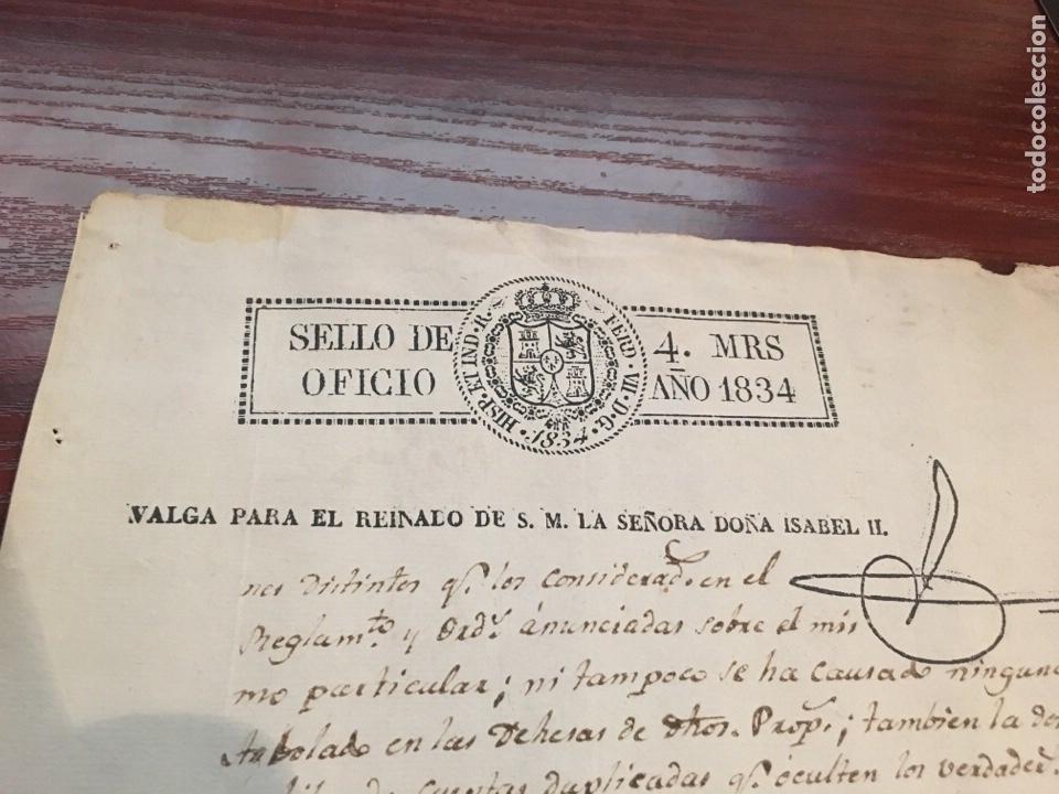 Manuscritos antiguos: ISABEL II 1834. Cabecera papel sellado o timbrado, sello despachos de oficio - Foto 2 - 160183302