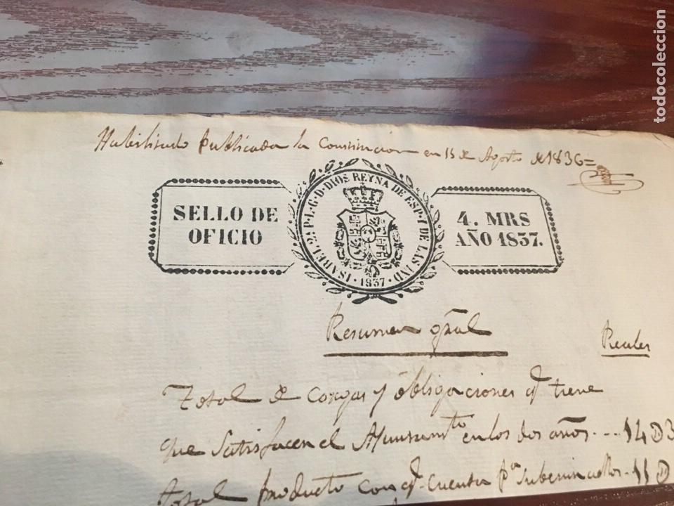Manuscritos antiguos: ISABEL II 1837. Cabecera papel sellado o timbrado, sello despachos de oficio. - Foto 2 - 160183645