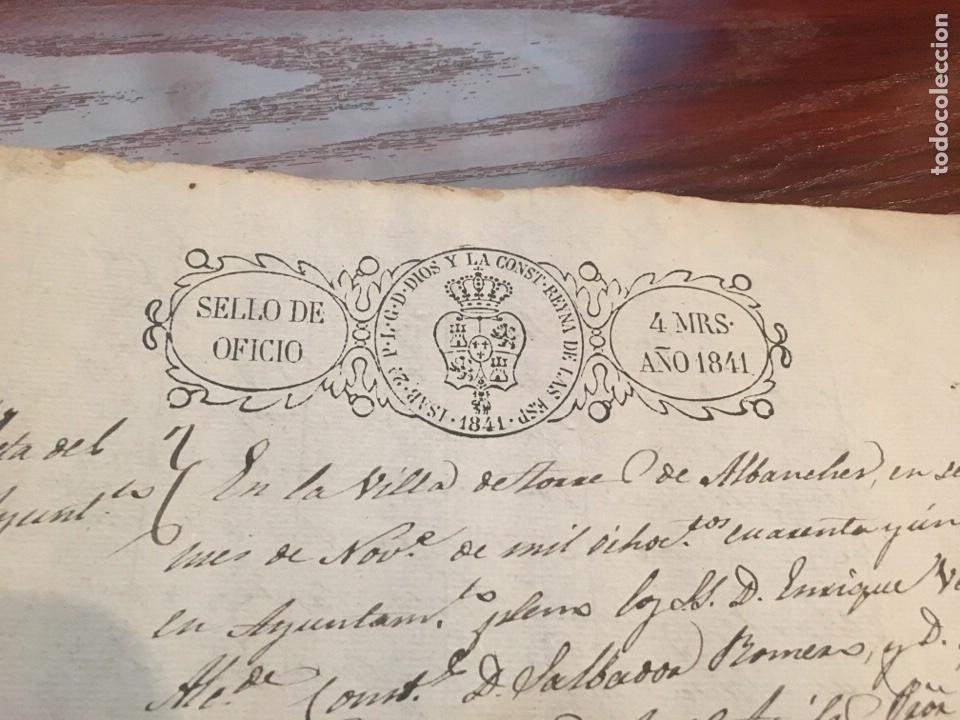Manuscritos antiguos: ISABEL II 1841. Cabecera papel sellado o timbrado, sello despachos de oficio - Foto 2 - 160184121