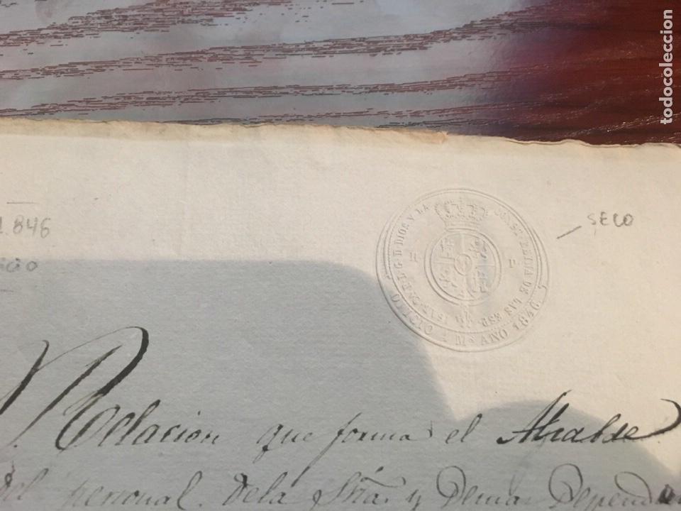 Manuscritos antiguos: ISABEL II 1846. Cabecera papel sellado o timbrado, sello seco despachos de oficio - Foto 2 - 160184716