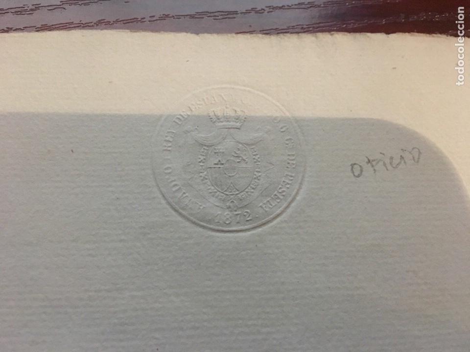 Manuscritos antiguos: AMADEO I 1872. Cabecera papel sellado o timbrado, sello seco despachos de oficio - Foto 2 - 160185004