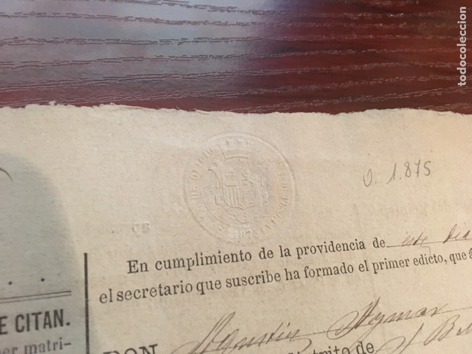 Manuscritos antiguos: ALFONSO XII 1875. Cabecera papel sellado o timbrado, sello seco despachos de oficio - Foto 2 - 160185308