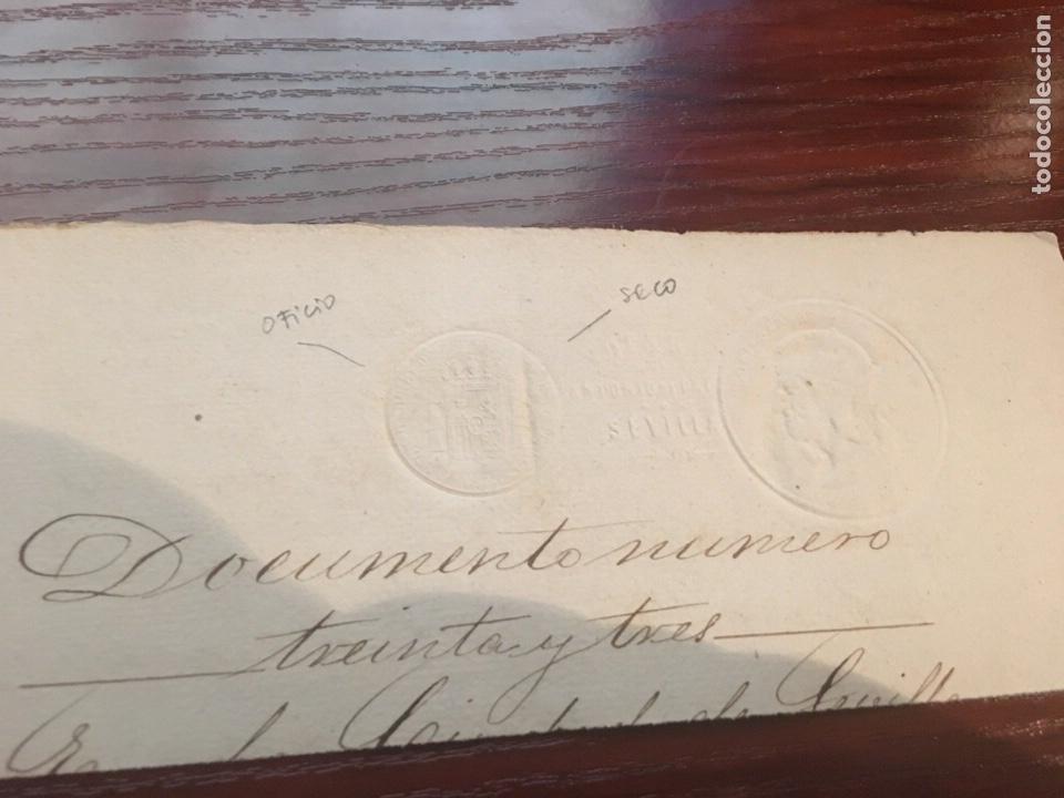 Manuscritos antiguos: ALFONSO XII 1878. Cabecera papel sellado o timbrado, sello seco despachos de oficio. - Foto 2 - 160185761