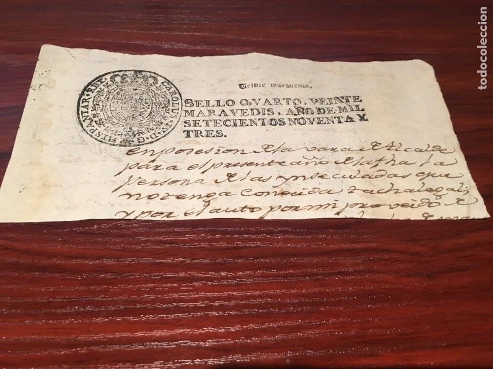 carlos iv 1793. cabecera del papel sellado cuar - Buy Old ...