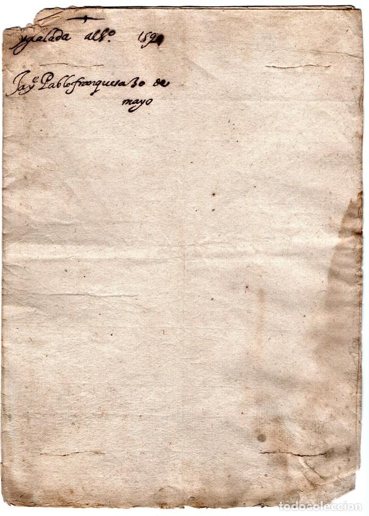Manuscritos antiguos: CARTA MANUSCRITO,SIGLO XVI,1594 AL DUQUE PEDRO FRANQUEZA,SECRETARIO INQUISICION Y REY FELIPE II-III - Foto 2 - 160675470