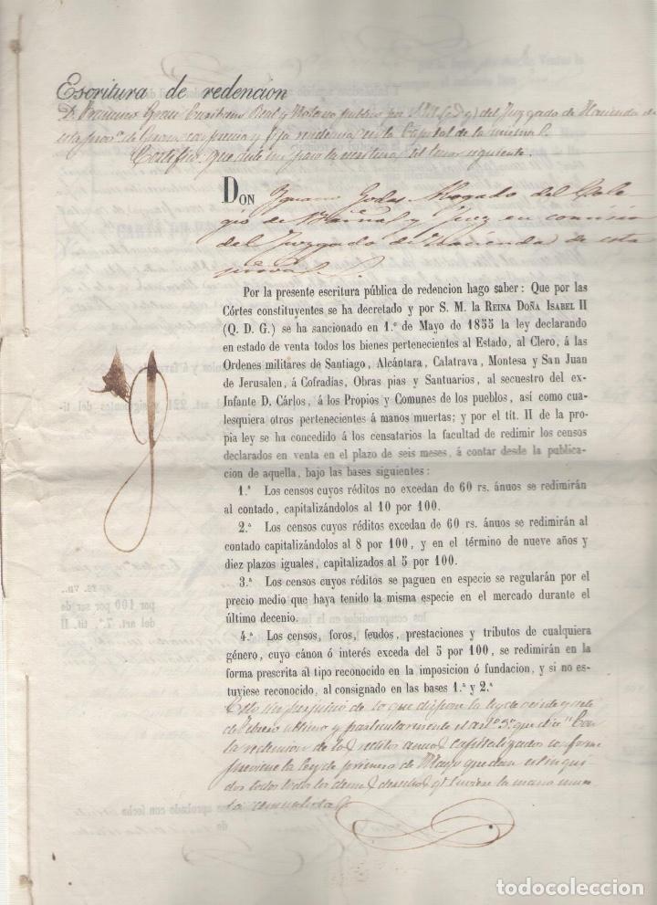 NUMULITE A3028 DOCUMENTO MANUSCRITO JUZGADO GERONA 1856 DESAMORTIZACIÓN ? BIENES CLERO GIRONA (Coleccionismo - Documentos - Manuscritos)