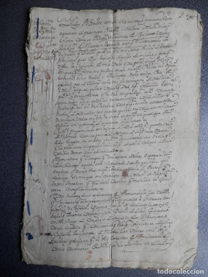MANUSCRITO AÑO 1687 Y 1736 ULZURRUM Y AOIZ NAVARRA TESTAMENTO Y VENTA TESTAMENTARÍA 16 PÁGS. (Coleccionismo - Documentos - Manuscritos)