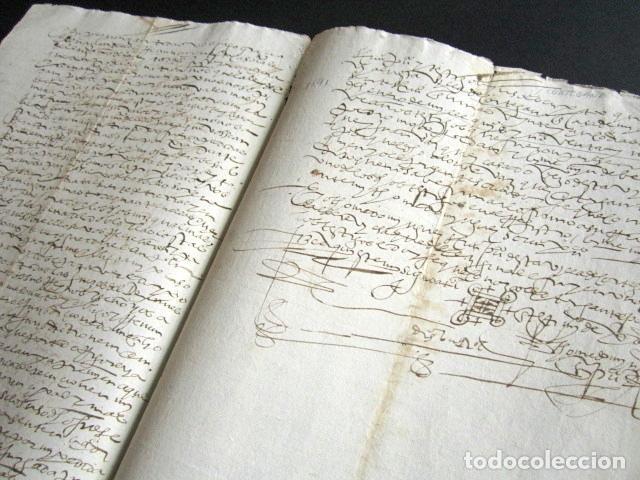 Manuscritos antiguos: AÑO 1591. HUELVA. CORTEGANA. ESCRITURA VENTA DE TIERRS DEL BARRANCO EN TÉRMINO DE AROCHE. - Foto 2 - 161108318