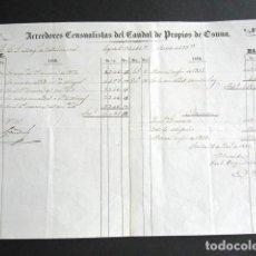 Manuscritos antiguos: AÑO 1858. OSUNA. SEVILLA. ESTADILLO ACREEDORES CENSUALISTAS DEL CAUDAL, MARQUÉS DE VALLEHERMOSO. . Lote 161519738