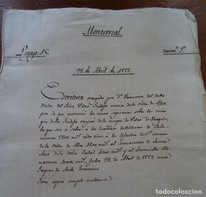Manuscritos antiguos: Salamanca, Alba de Tormes, 1577, censo de viñas, cofradía San Marcos, monasterio Santa Ana - Foto 2 - 161532958