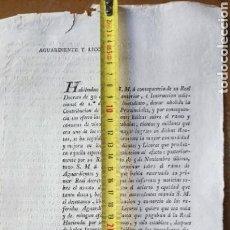 Manuscritos antiguos: DOCUMENTO OFICIAL SALAMANCA 1817, REAL DECRETO DE AGUARDIENTE Y LICORES.. Lote 161762449