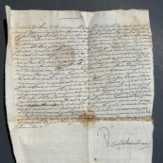 Manuscritos antiguos: 1628 - IMPORTANTE DOCUMENTO MANUSCRITO - ARAGÓN - JUAN SANZ DE ARMORA - 44X28CM. Lote 162201110